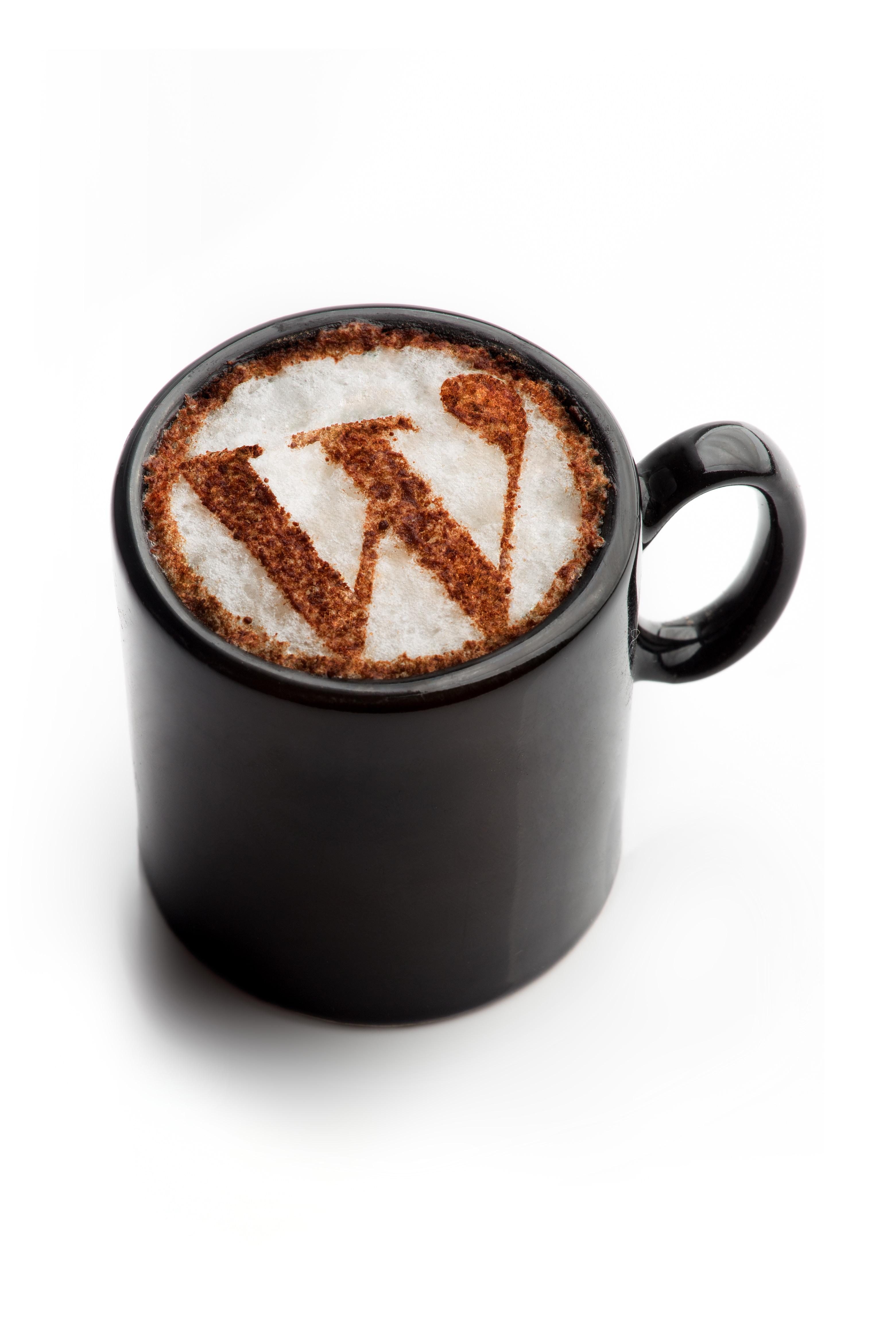 Wordpress logo in coffee