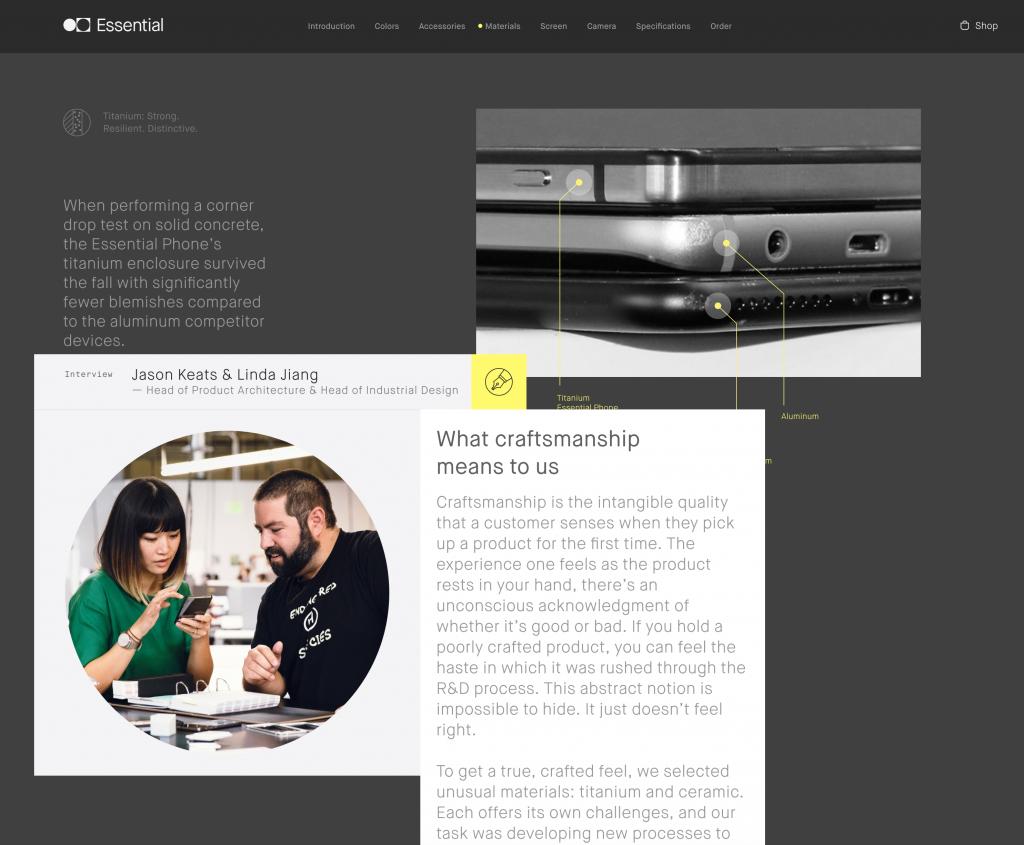 Essential Phone website screenshot