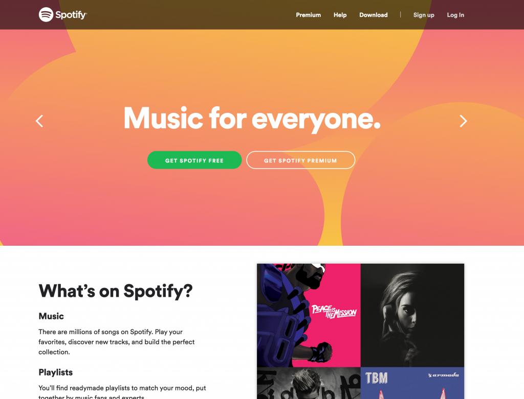 Spotify website screenshot